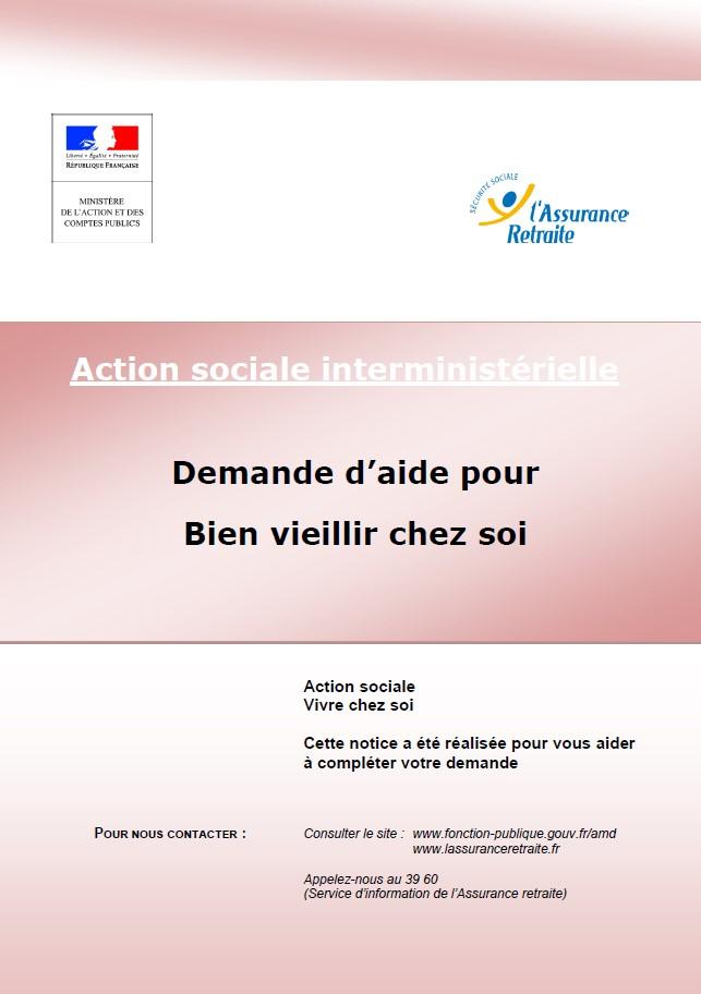 Action sociale interministérielle Demande d'aide pour Bien vieillir chez soi