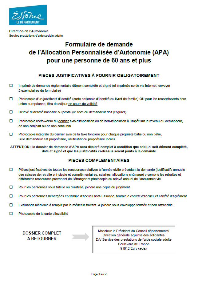 Formulaire de demande de l'Allocation Personnalisée d'Autonomie (APA) pour une personne de 60 ans et plus