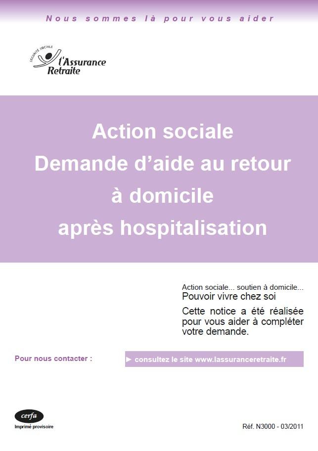 Action sociale interministérielle Demande d'aide au Retour à domicile après hospitalisation